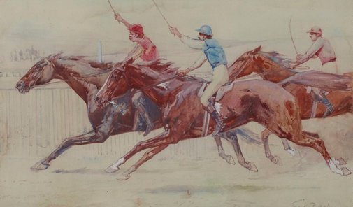 An image of Settling down to finish by Frank Mahony