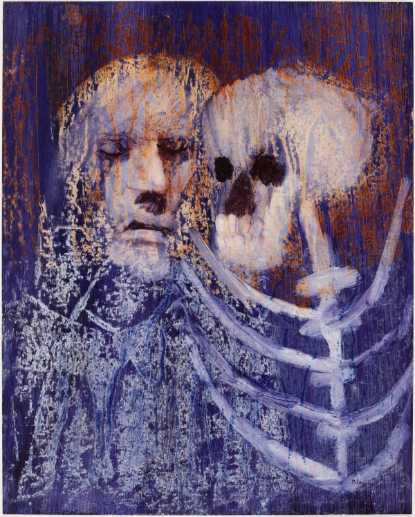 An image of Shakespeare sonnet (poet with death's head)