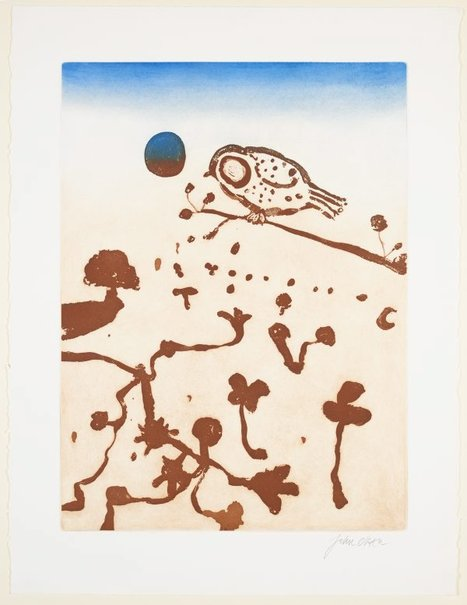 An image of (Bird and moon) by John Olsen