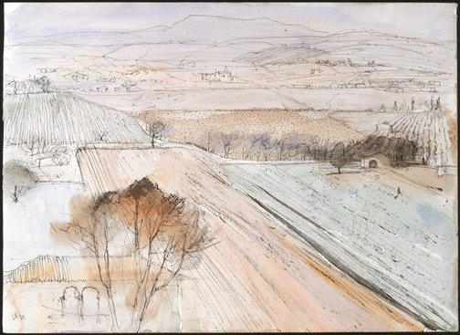 An image of The fields of Béziers by Lloyd Rees