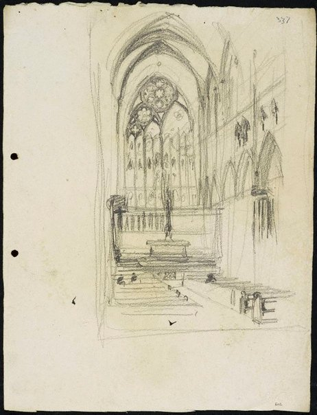 An image of recto: St Mary's Cathedral interior verso: Cathedral interior details including the altar by Lloyd Rees