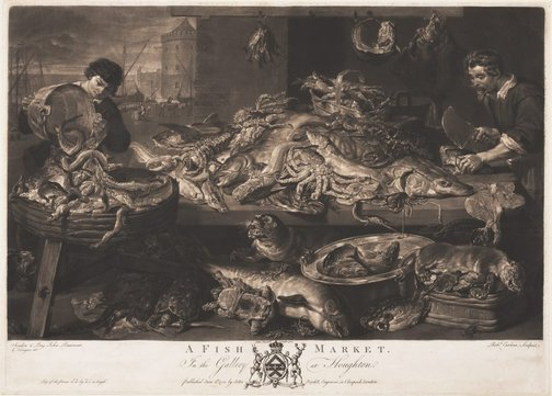 An image of A fish market by Richard Earlom, after Frans Snyders