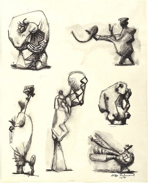 An image of (Six sculptural figures) by Oliffe Richmond