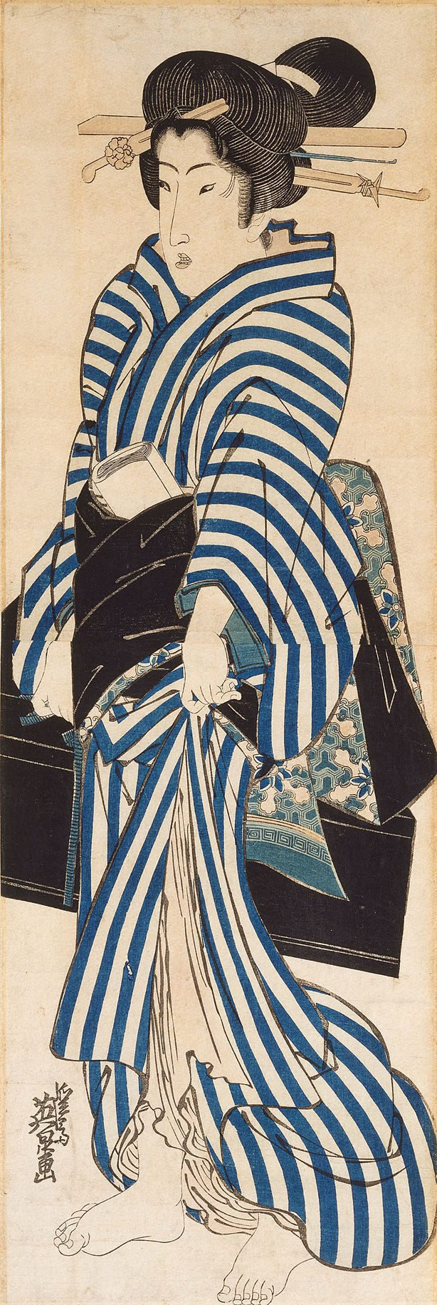 An image of (Woman in blue kimono)