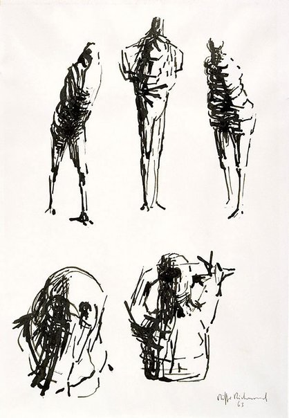 An image of (Three standing figures; a head, a torso) by Oliffe Richmond