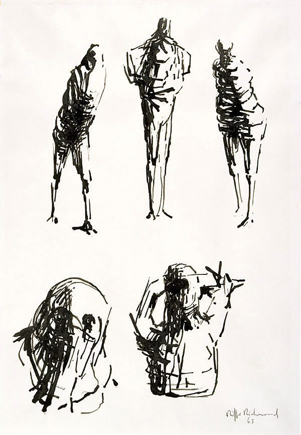 An image of (Three standing figures; a head, a torso)