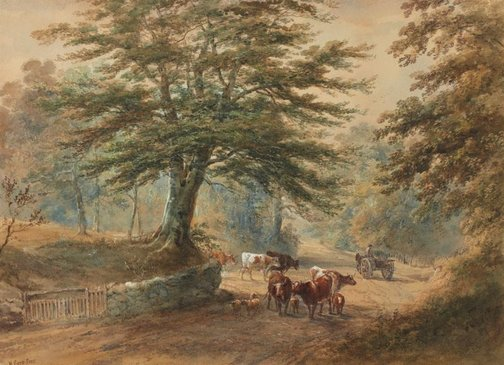 An image of Road with cattle by Henry Earp Snr
