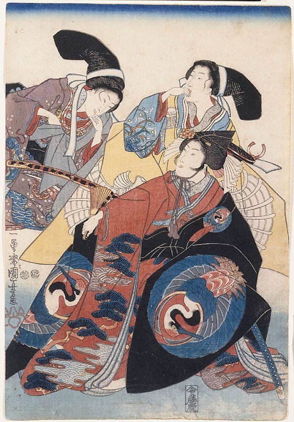 An image of Three onnagata (female role actors)