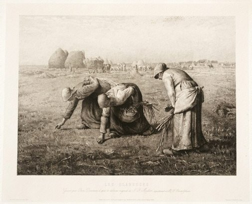 An image of The gleaners by Benjamin-Louis-Auguste Damman, after Jean-Francois Millet
