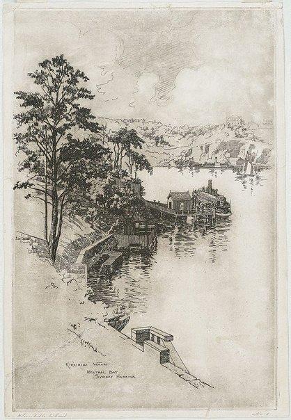 An image of Kirribilli Wharf, Sydney by Alfred Coffey
