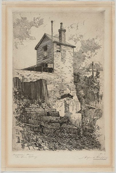 An image of Half wooden house, Gas Lane, Sydney by Alfred Coffey