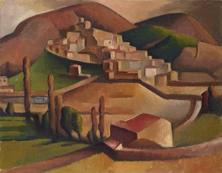Mirmande (with surrounding hills), (1934) by Dorrit Black