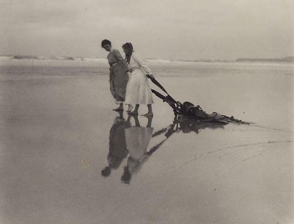 An image of On the beach near Dunedin (Joan Deck and Dora Malteby)