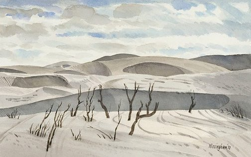 An image of Early morning, Eyre dunes by Hal Missingham