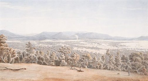 An image of Lilydale from the Hills with the Dandenongs in the distance by Eugene von Guérard