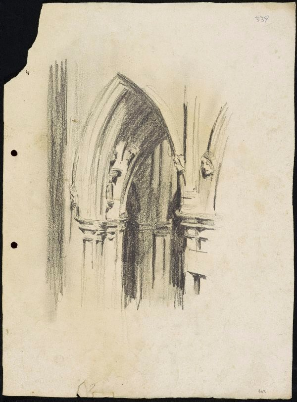 An image of recto: St Mary's Cathedral doorway with bosses verso: Cathedral arches