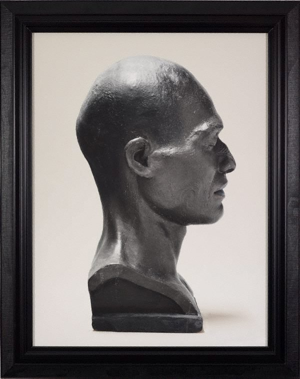 An image of Portrait of a life cast of Takatahara (right profile, painted), Aotearoa, New Zealand