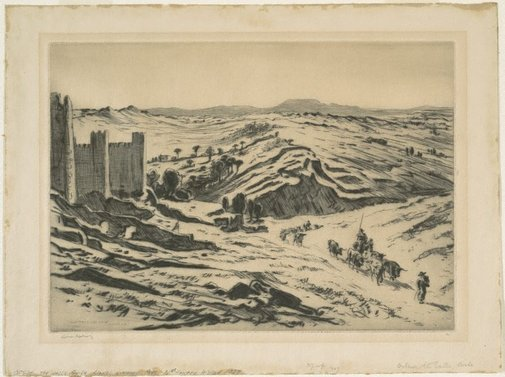 An image of Outside the walls, Avila by Lionel Lindsay