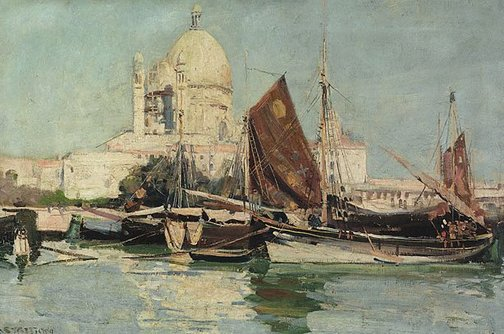 An image of Fishing boats, Venice by Arthur Streeton