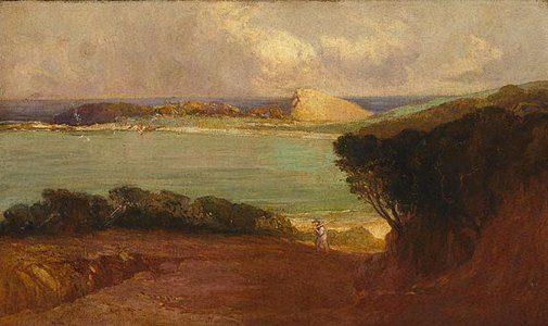 An image of Terrigal haven by G.V.F. Mann