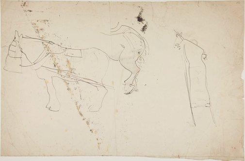 An image of (Man on ladder, and study of horse's leg) (London genre) by William Dobell