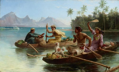 An image of Race to the market, Tahiti by Nicholas Chevalier