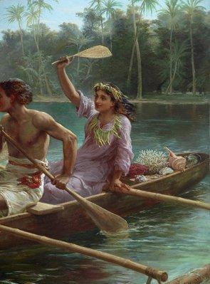 Alternate image of Race to the market, Tahiti by Nicholas Chevalier