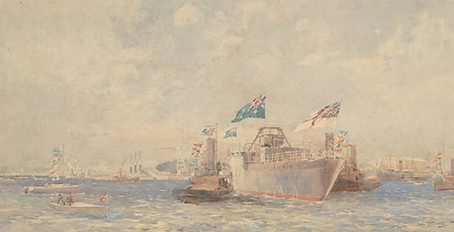"An image of Launch of the ""Adelaide"" by CES Tindall"