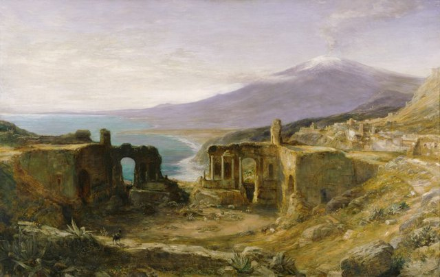 An image of Mount Etna from the Greek Theatre, Taormina, Sicily