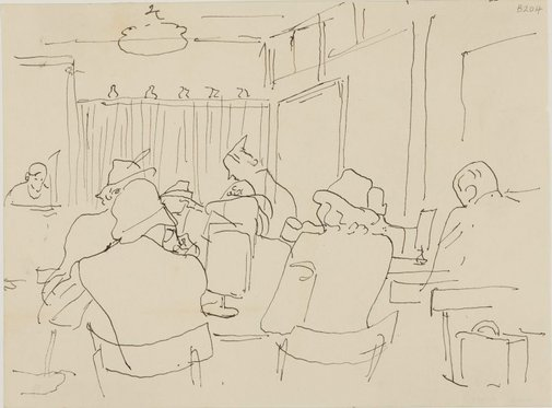 An image of People in a cafe by William Dobell