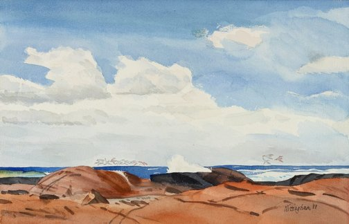 An image of A rocky bay, Freycinet by Hal Missingham