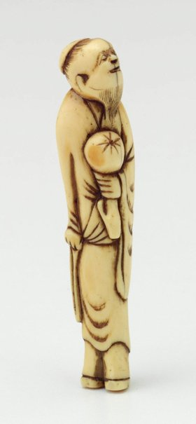 An image of Netsuke in the form of a 'sennin' carrying fruit (?) by