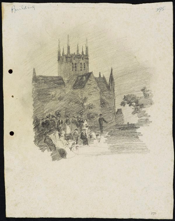 An image of recto: A gathering in Hyde Park verso: The Trust Building [top] and Arch of a bridge [bottom]
