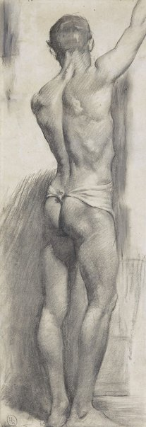 An image of (Standing male nude, back view) by Hugh Ramsay