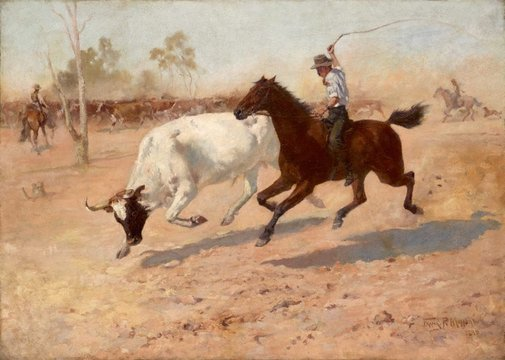An image of Rounding up a straggler by Frank Mahony