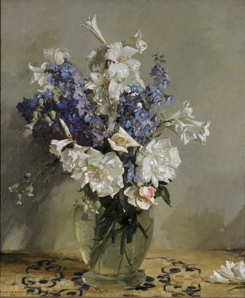 An image of Delphiniums and lilies by Hans Heysen