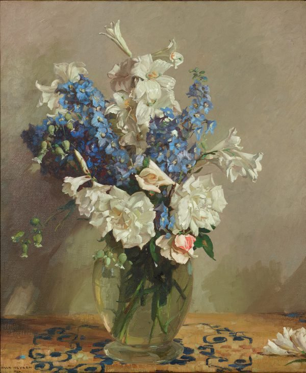 An image of Delphiniums and lilies