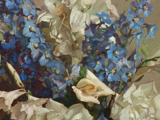 Alternate image of Delphiniums and lilies by Hans Heysen
