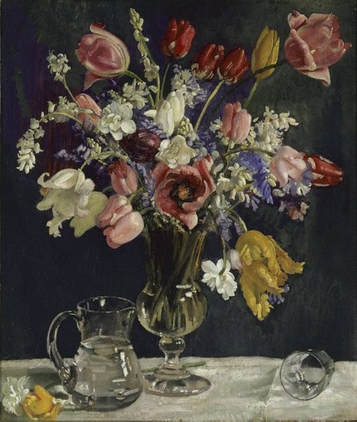 An image of Tulips and wild hyacinths by George W Lambert