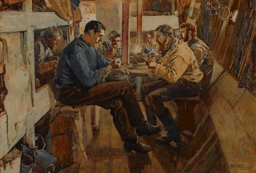 An image of Dinner in the Fo'castle by Harry Hopwood