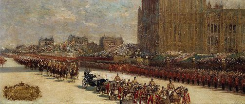 An image of Queen Victoria's Diamond Jubilee Procession passing the Houses of Parliament by George Charles Haité