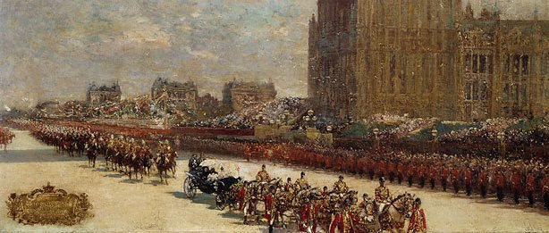 An image of Queen Victoria's Diamond Jubilee Procession passing the Houses of Parliament