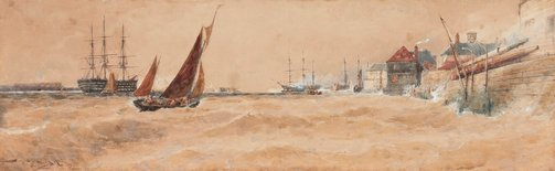 An image of Portsmouth Harbour by Thomas Bush Hardy