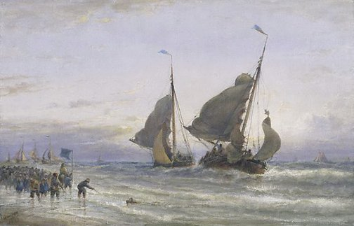 An image of Dutch Pinks returning from the sea- Scheveningen Beach by Edwin Hayes