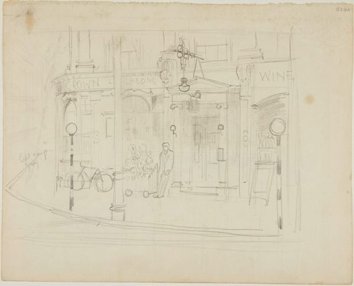 An image of Pub at a street corner by William Dobell