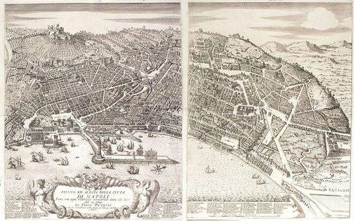 An image of Panorama of Naples (Pianta ed alzata della citta de Napoli) by Paolo Petrini