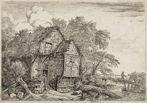 An image of The little bridge by Jacob Isaacksz van Ruisdael