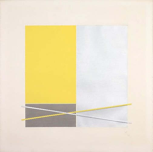 An image of (Yellow, grey rectangles) by Jesus-Rafael Soto