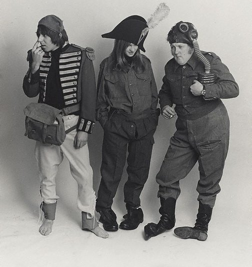 An image of Barry Fantoni, Willie Rushton and Diana Clark, spoof fashion for 'Private Eye' by Lewis Morley