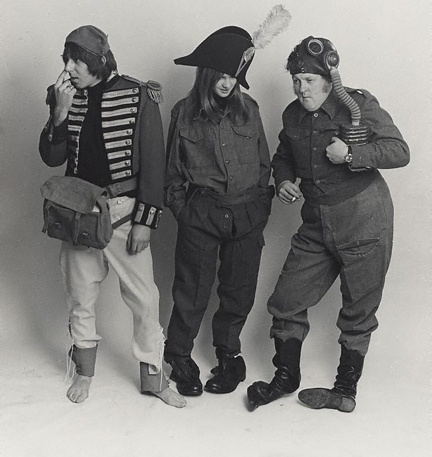 An image of Barry Fantoni, Willie Rushton and Diana Clark, spoof fashion for 'Private Eye'